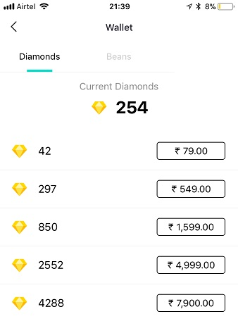Purchasing Diamonds in Bigo Live