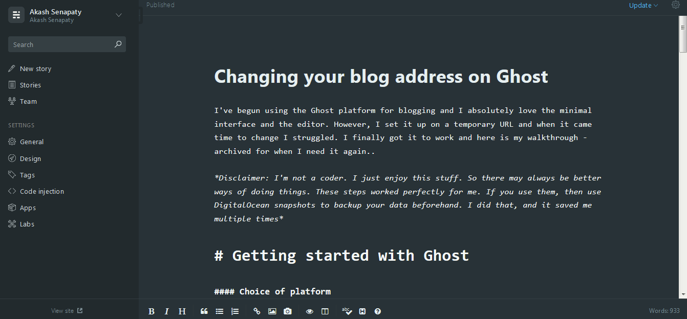 Changing your blog address on Ghost